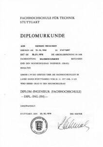FH für Technik Stuttgart Diplomurkunde