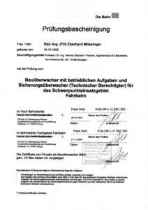 Prüfungsbescheinigung Bauüberwacher